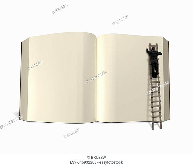 Writing opening book with wooden ladder isolated in white background, 3D rendering
