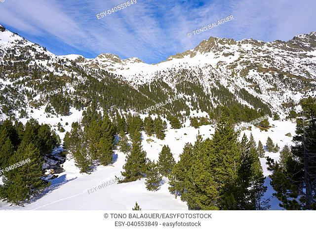 Benasque Llanos del Hospital cross country ski area in Pyrenees of Huesca Spain