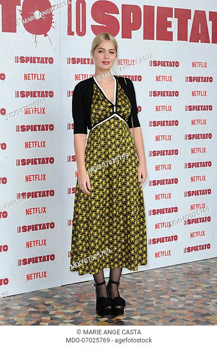 Italian actress Marie Ange Casta attends Lo spietato photocall, produced by Rai and Netflix, at The Space Cinema Moderno