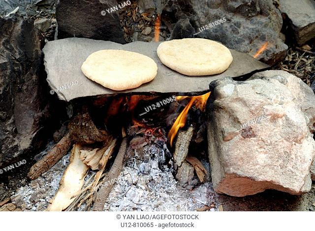 Ladhaki use the flagstone bake Bread