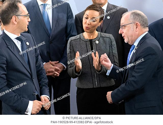 28 May 2019, Berlin: Heiko Maas (SPD, l-r), Federal Foreign Minister, Kamina Johnson Smith, Foreign Minister of Jamaica, and Jorge Faurie