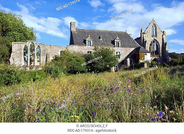 Abbey 'Abbaye de Beauport', built 1202, Paimpol, Baie de Saint Brieuc, Brittany, France
