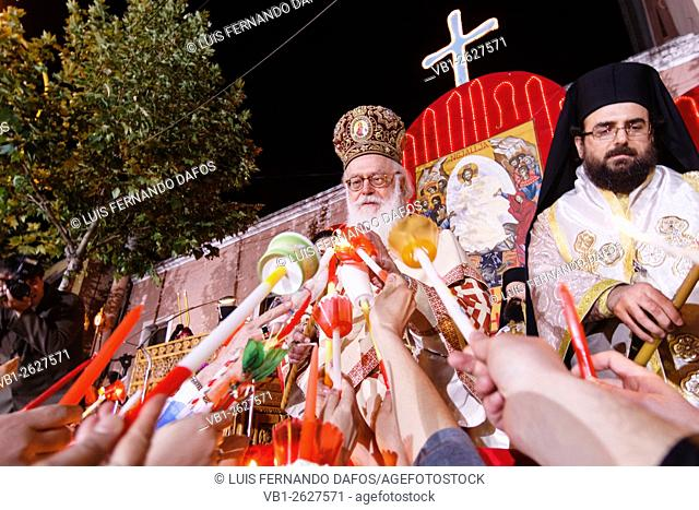 The Orthodox Patriach attending the Easter ceremonies at Tirana, Albania