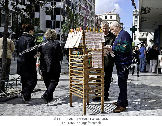 Selling lottery tickets, near Syndagma Square in the center of Athens, Greece