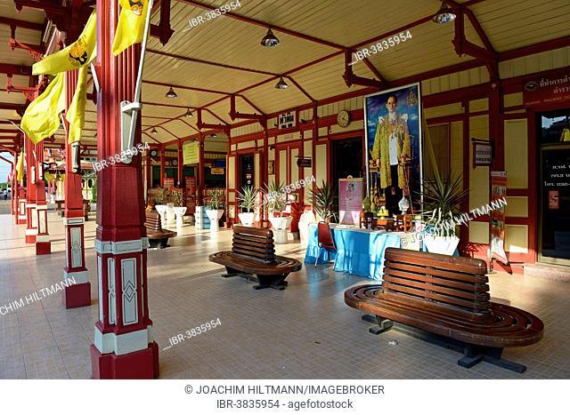 Hua Hin Railway Station with a portrait of King Bhumibol Adulyadej the Great, Rama IX, Prachuap Khiri Khan province, Central Thailand, Thailand