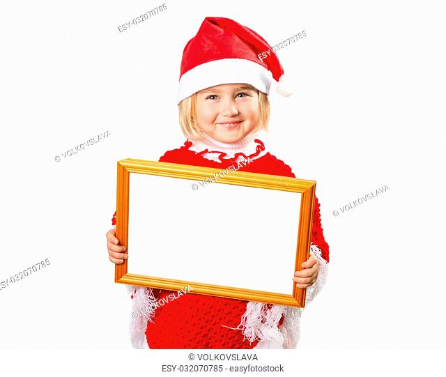 Little girl in hat Santa Claus holding frame with a white background for the text