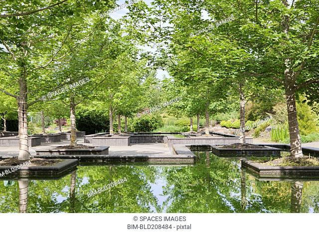 Bosque Garden Plaza reflecting pools at Oregon Gardens