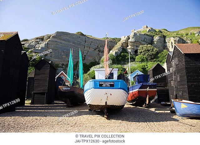 England, East Sussex, Hastings, Fishing Boats and Net Shops in Hastings Old Town
