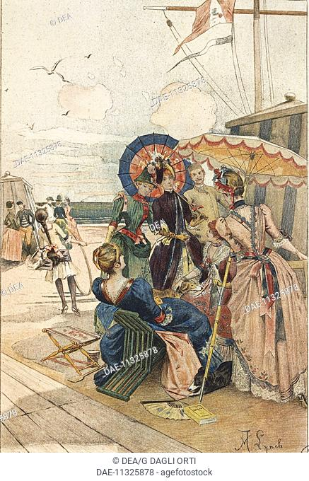 France, 19th century. The contemporaries on the beach. Illustration by A. Lynch from Octave Uzanne (1851-1931), La Francaise du siecle: modes, moeurs, usages