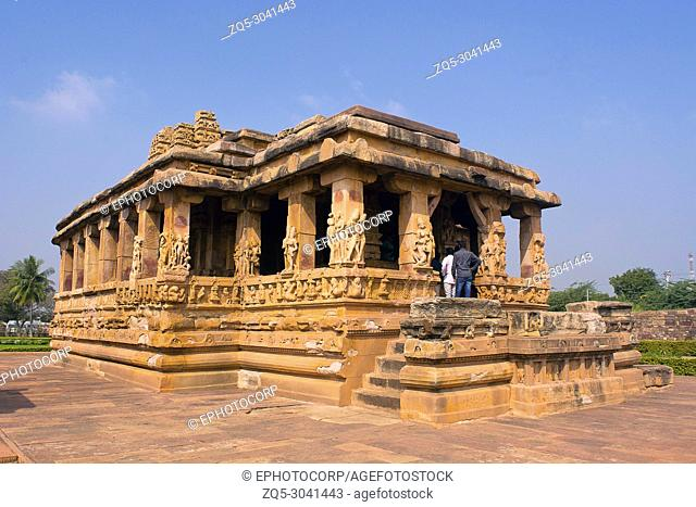 Entrance porch of Durga temple, Aihole, Bagalkot, Karnataka, India. The Galaganatha Group of temples