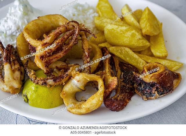 Fried Squids. Santorini Island. Ciclades Islands. Greece
