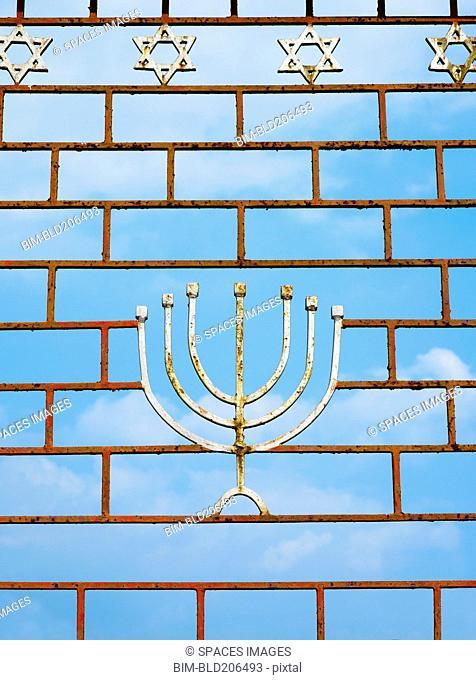 Jewish Gate With a Menorah