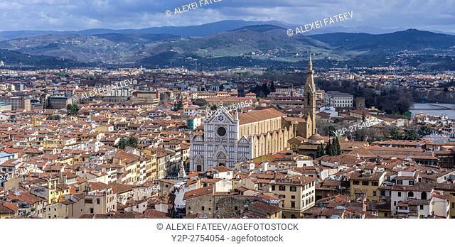 Panoramic view of Florence with Basilica di Sanrta Croce