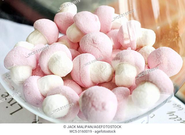 pink and white candy marshmallows in bowl