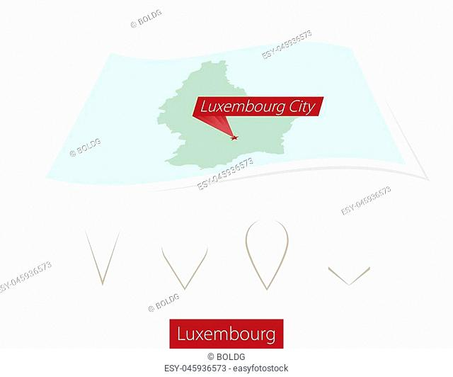 Curved paper map of Luxembourg with capital Luxembourg City on Gray Background. Four different Map pin set. Vector Illustration