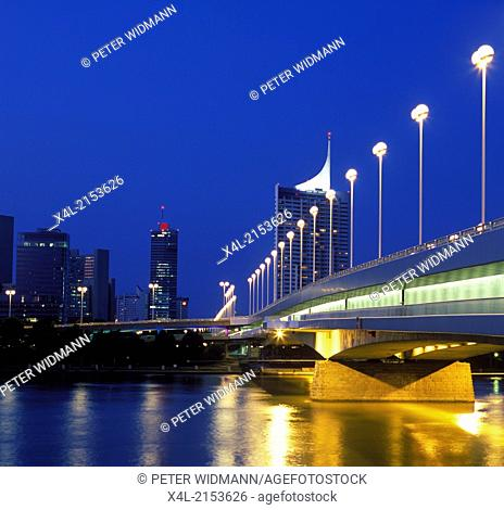 Danube River, Bridge Reichsbruecke, Vienna, Austria