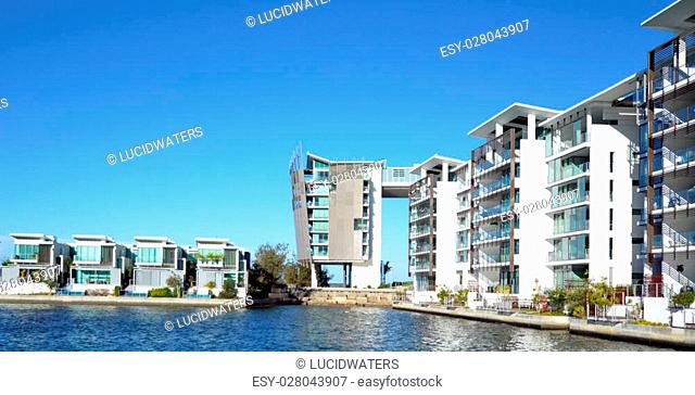 GOLD COAST - OCT 14 2014:Panoramic view of Ephraim Island.Ephraim Island is luxury residential development in Gold Coast, Australia