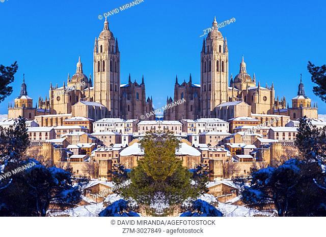 Catedral, city wall and Judería (Jewish Quarter). Segovia. Castile-Leon, Spain