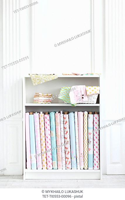 Variety of fabric on shelf