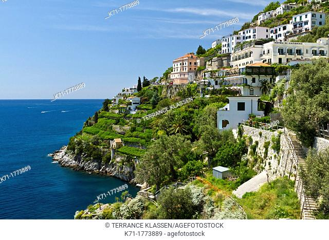 A view of the coastal town of Amalfi on the Gulf of Salerno in southern Italy