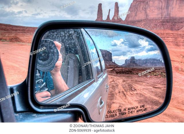 Monument Valley taken out of the car mirror