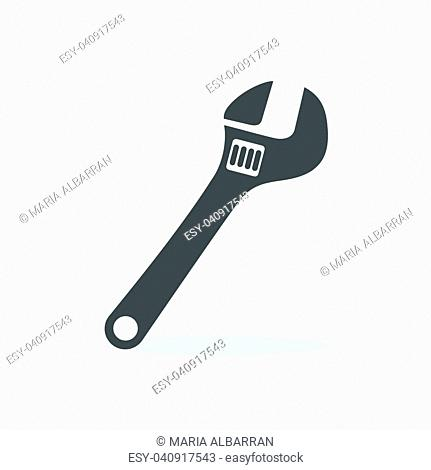Wrench icon with shade on white background