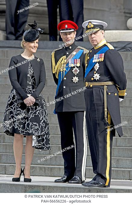 The Earl and Countess of Wessex, Edward and Sophie and the Duke of York, Andrew (R), attend the commemoration service to mark the end of combat operations in...