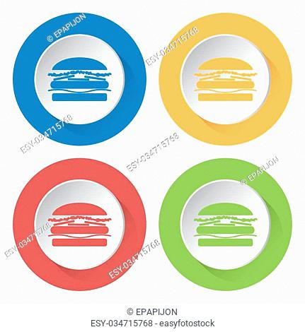 set of four colored icons with hamburger