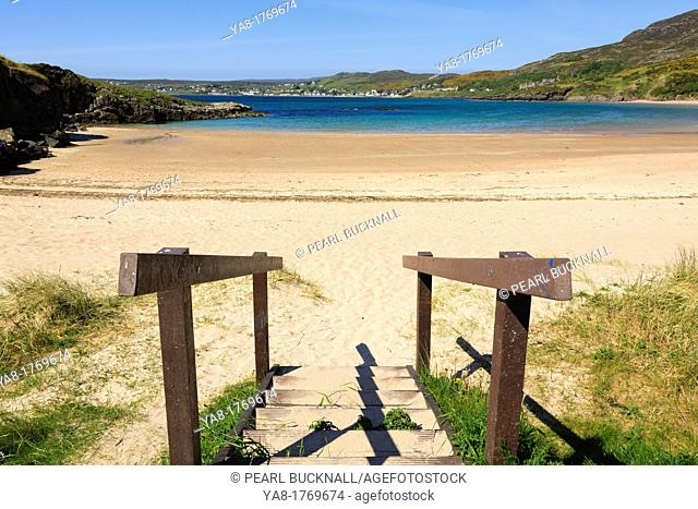 Gairloch, Wester Ross, Ross and Cromarty, Highland, Scotland, UK, Britain, Europe  Steps down to quiet Big Sands beach on northwest Highlands coast