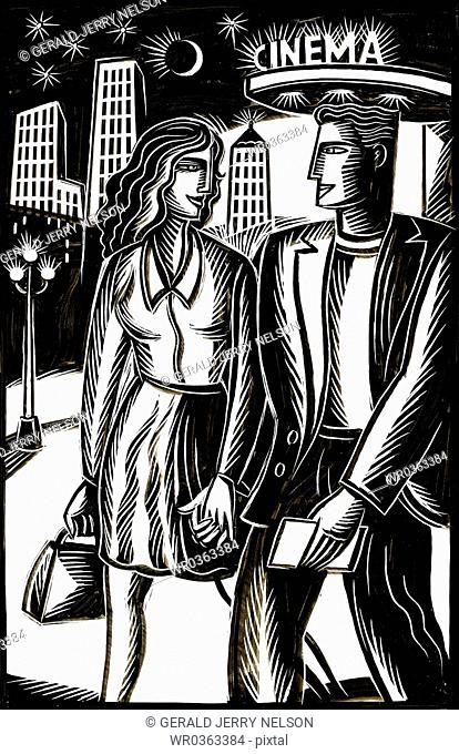 couple walking in urban setting