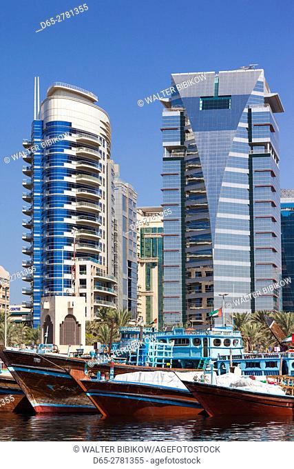 UAE, Dubai, Deira, Dhow ships on Dubai Creek