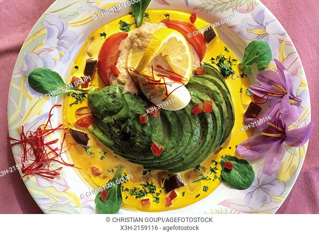 avocado with crab and saffron, Loiret department, region of Centre, France, Europe