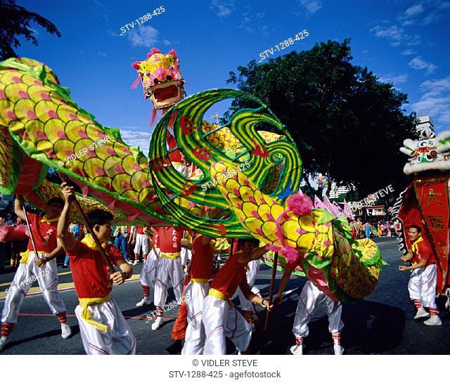 Asia, Asian, Celebration, Costumes, Dragon, Festive, Holiday, Landmark, Men, Outdoors, Parade, People, Singapore, Asia, Symbolic