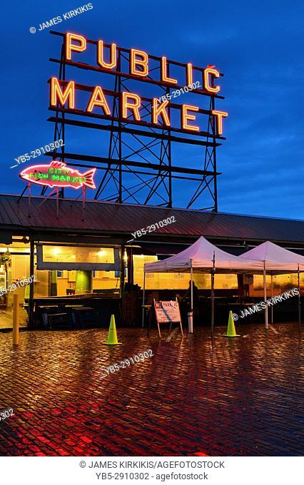 Dawn at Pike Place Market. Seattle, Washington, USA