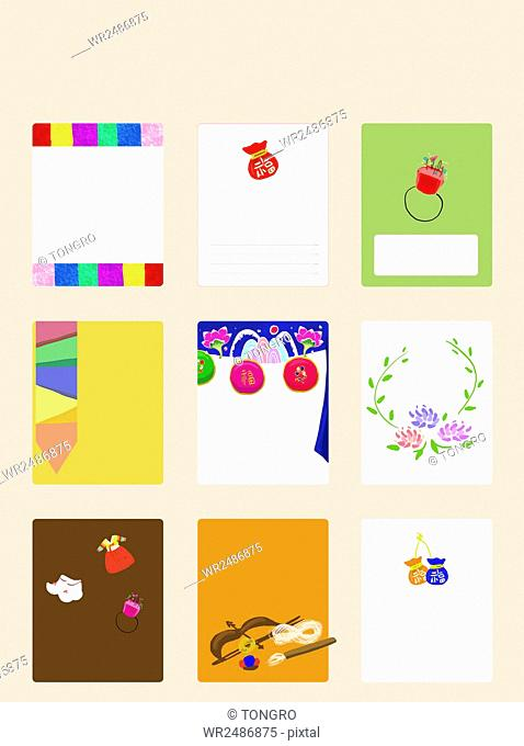 Various patterns of cards for traditional Korean first birthday