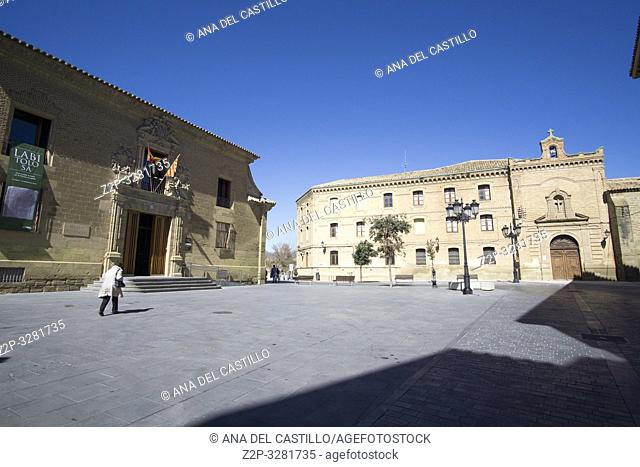 HUESCA ARAGON SPAIN ON MARCH 15, 2019: Main building of the Huesca University