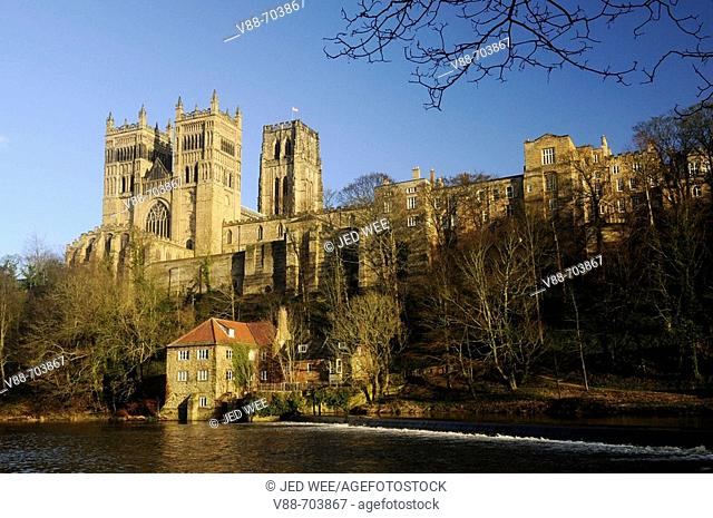 Durham Cathedral in winter sunshine, overlooking the Fulling Mill along the River Wear, Durham City, County Durham, England