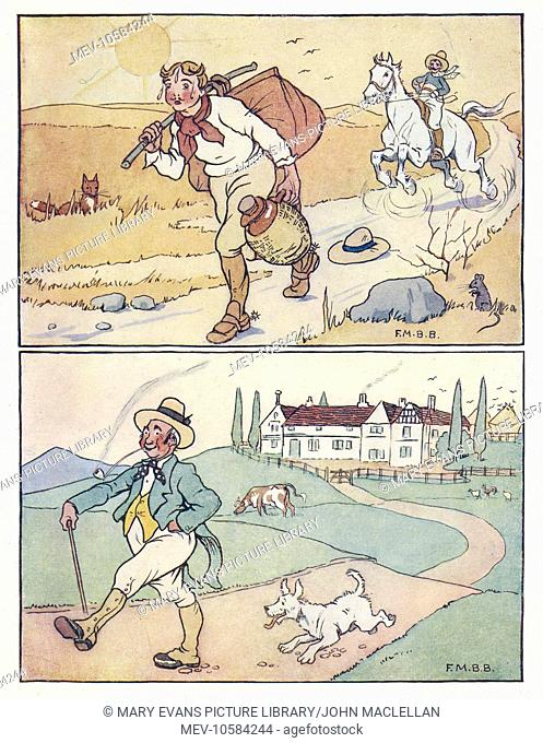 Nursery Rhymes -- two travelling scenes. Above -- a man walks along a road with a heavy bag and jar on a hot day, followed by a man on horseback