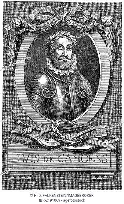 Historical engraving, 19th century, portrait of Luís Vaz de Camões or Luiz Vaz de Camões, 1524 - 1580, Portuguese national poet