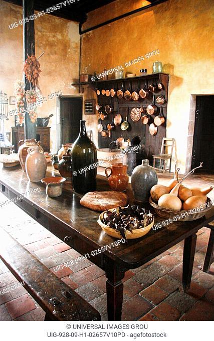 France, Cormatin Castle Kitchen