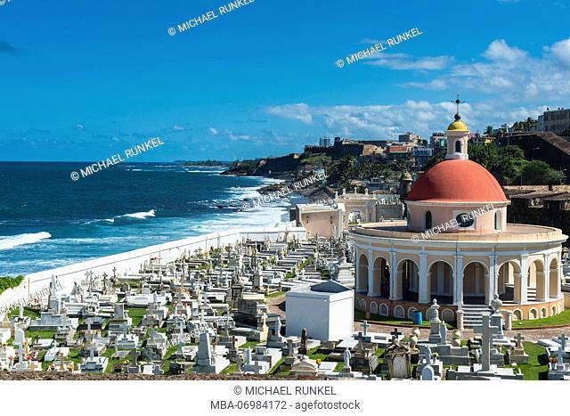 Cemetery in the Unesco world heritage sight castle San Felipe del Morro, San Juan, Puerto Rico, Caribbean
