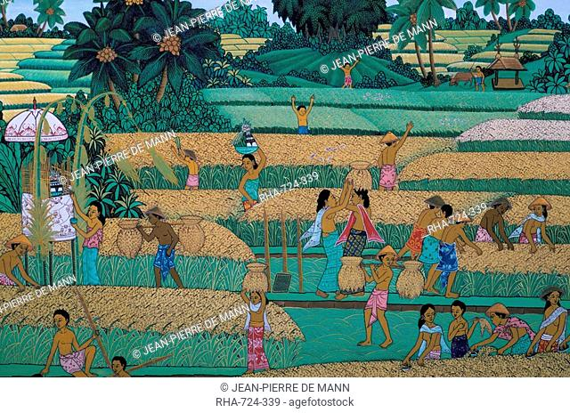 Painting of people harvesting in rice fields, Neka Museum, Ubud, island of Bali, Indonesia, Southeast Asia, Asia