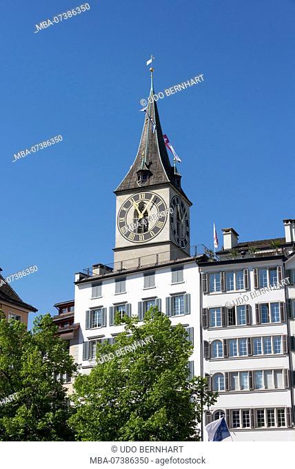 Old town with steeple St. Peter, Zurich, Canton of Zurich, Switzerland