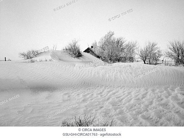 Uninhabitable Farm due to Severe Wind Erosion, Cimarron County, Oklahoma, USA, Arthur Rothstein for Farm Security Administration (FSA), April 1936
