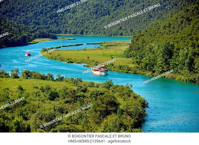 Croatia, Dalmatia, Krka National Parc, Boats on the river