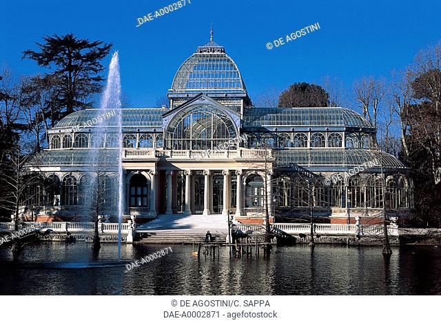 Palacio de Cristal (Crystal Palace), 1887, glass and metal structure, Buen Retiro Park, Madrid, Spain