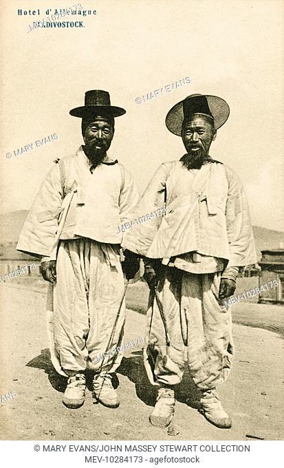 Two Korean men - in Vladivostok - wearing traditional costume