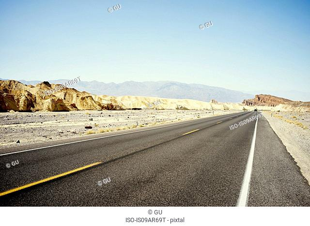 View of straight desert road, Death Valley, California, USA