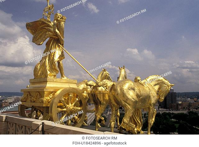 St. Paul, MN, State Capitol, State House, Minnesota, Twin Cities, The Progress of the State gold chariot statue representing prosperity under the dome of the...