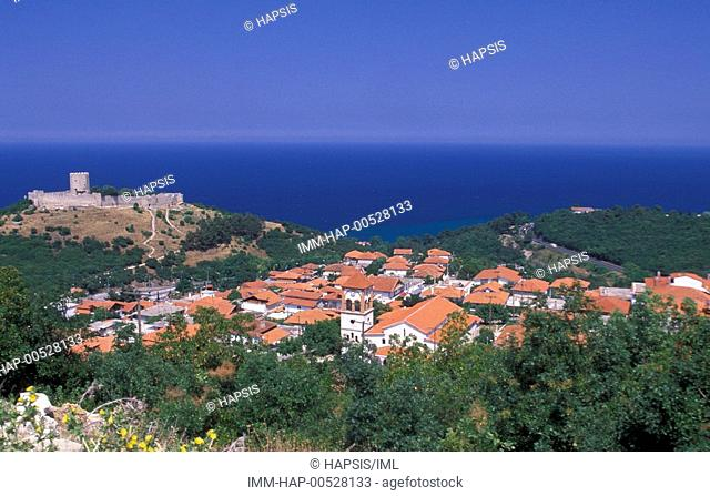 View from the village of Platamonas and its castle , Paleios Panteleimonas, Macedonia Central, Greece